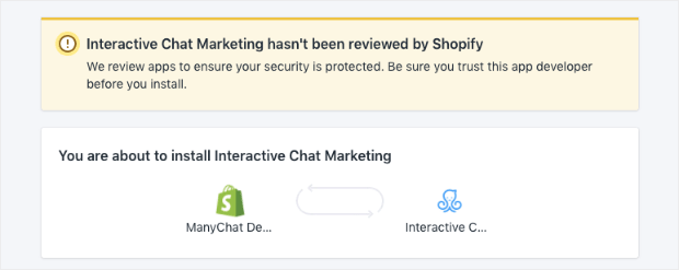 ManyChat shopify integration install