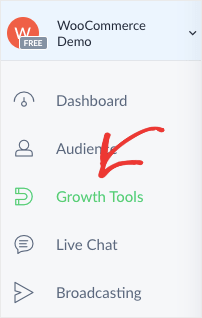 ManyChat side menu Growth Tools