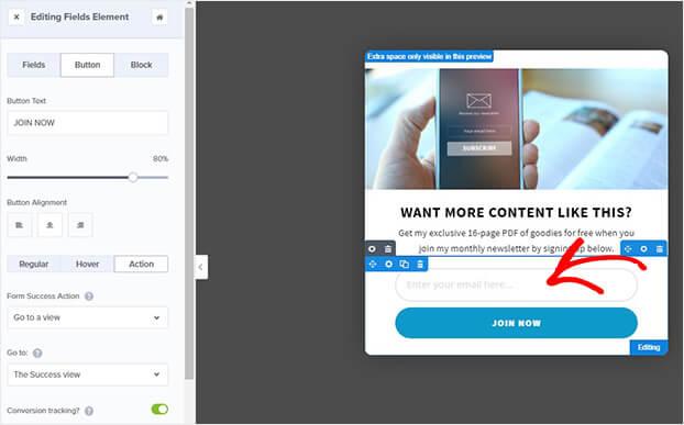 Marketo popup button edit