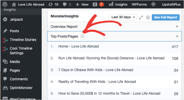 MonsterInsights Top Pages