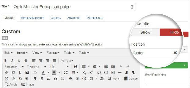 OptinMonster campaign details in Joomla
