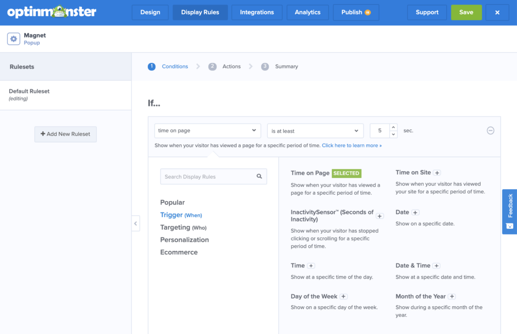 Scheduling display rules in the OptinMonster campaign builder.