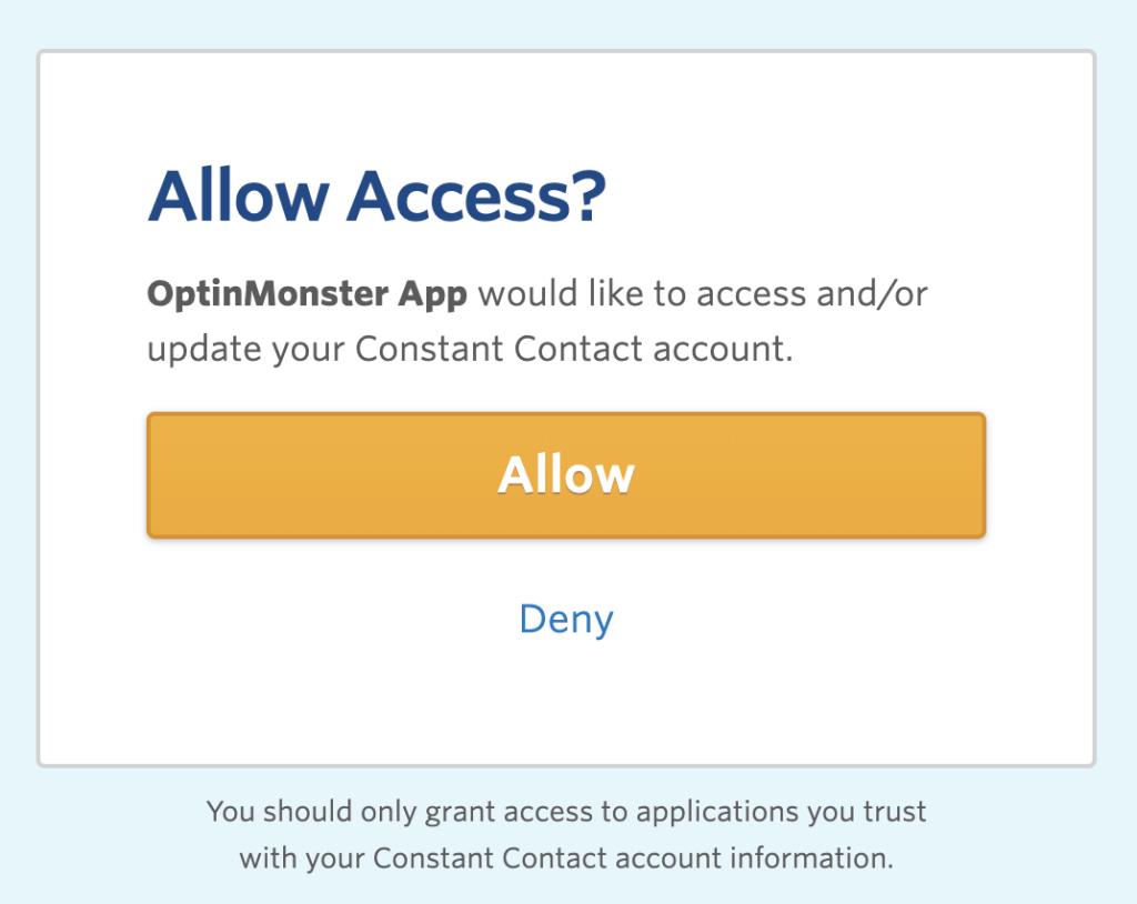 Allow access between OptinMonster and Constant Contact