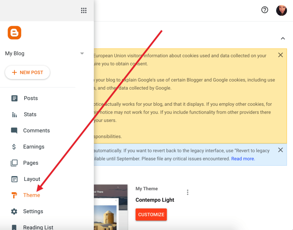Navigate to the Theme page in Blogger.