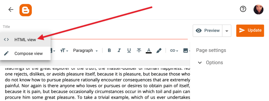 Change to HTML view when editing a post or page in Blogger.