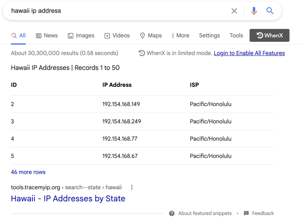 Search for IP Address