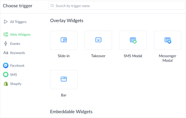 Select Widget for ManyChat