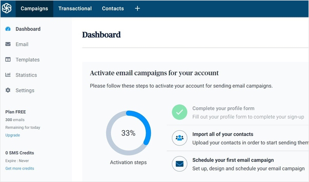 Sendinblue account dashboard screen