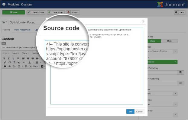 Source code popup in Joomla
