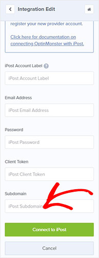 Ipost connect with OptinMonster