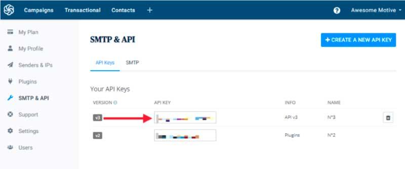 SendinBlue v3 API Key
