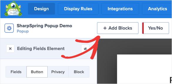 Modèle de base : ajouter un bloc pour une popup SharpSpring