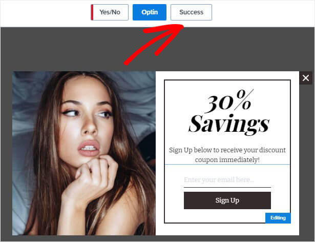 Click Success View Shopping template