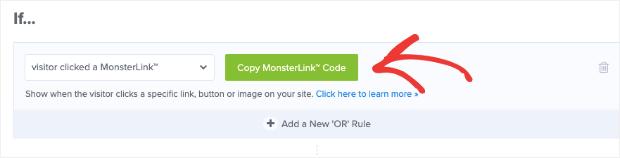 Copy MonsterLink code for clickable popup