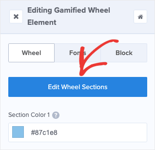 Edit Wheel Sections button
