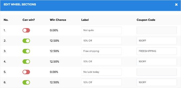 Edit Wheel Sections