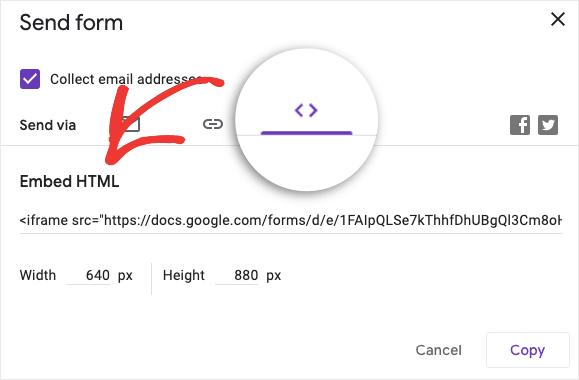 Embed HTML Google Form