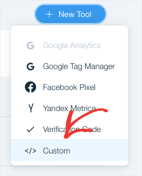 Entrez un code personnalisé sur le site wix