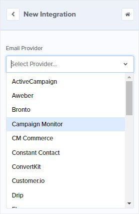 OptinMonster Email Provider Dropdown