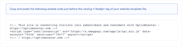 OptinMonster embed code