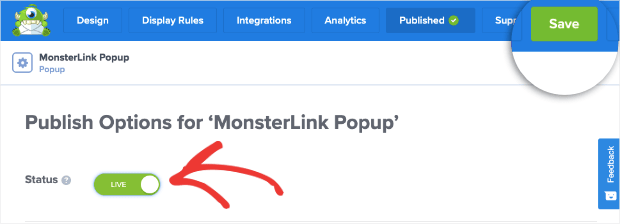 Save and publish monsterlink campaign