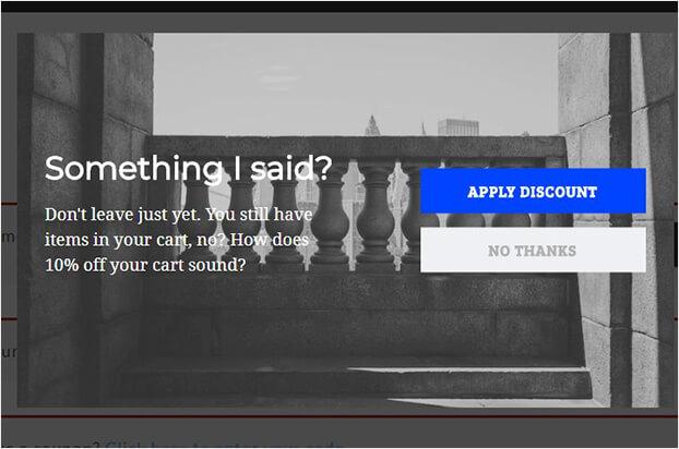 Scott Wyden exit intent popup for abandoned carts_