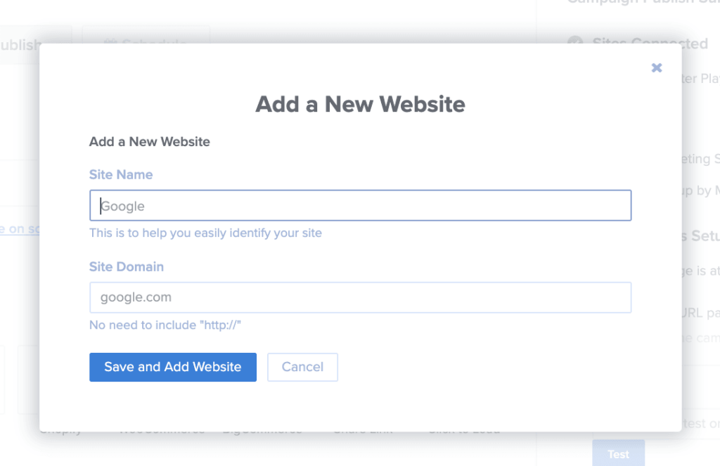 Add new website modal in the Publish view of the campaign builder.
