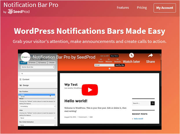SeedProd WordPress notification bar