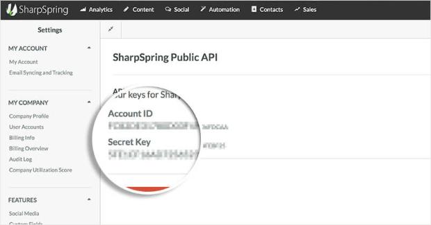 Paramètres de l'API SharSpring