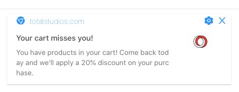 pushengage cart abandonment notification
