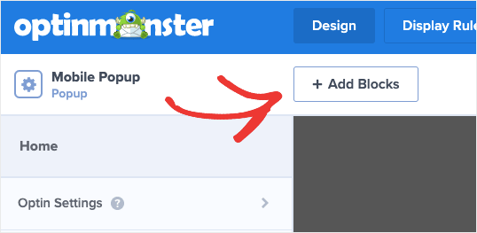 Add blocks to mobile popup