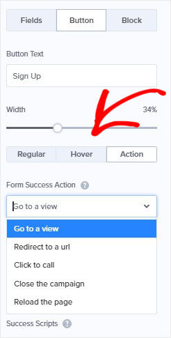 Choose Success Action WordPress Notification Bar