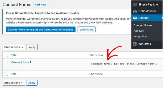 Contact Form 7 Embeddable Shortcode