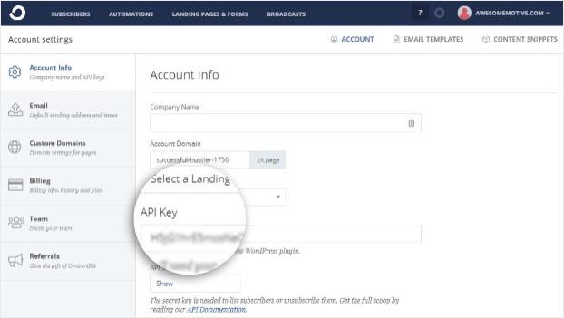 ConvertKit API key