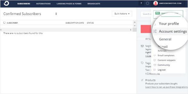 ConvertKit account settings_