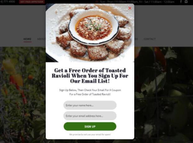 Guidos restaurant email marketing popup