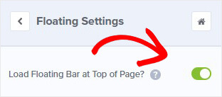 Load floating bar at top of page_