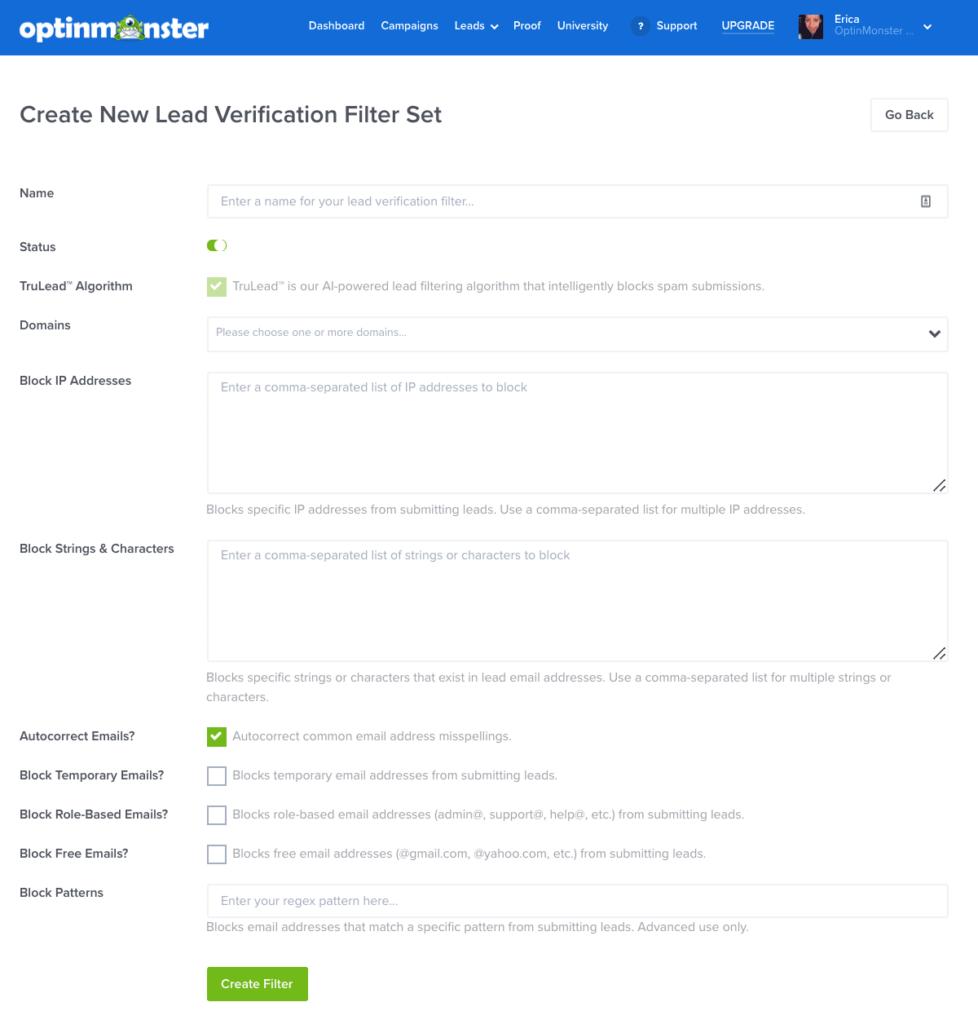 Lead Verification Filter configuration screen.
