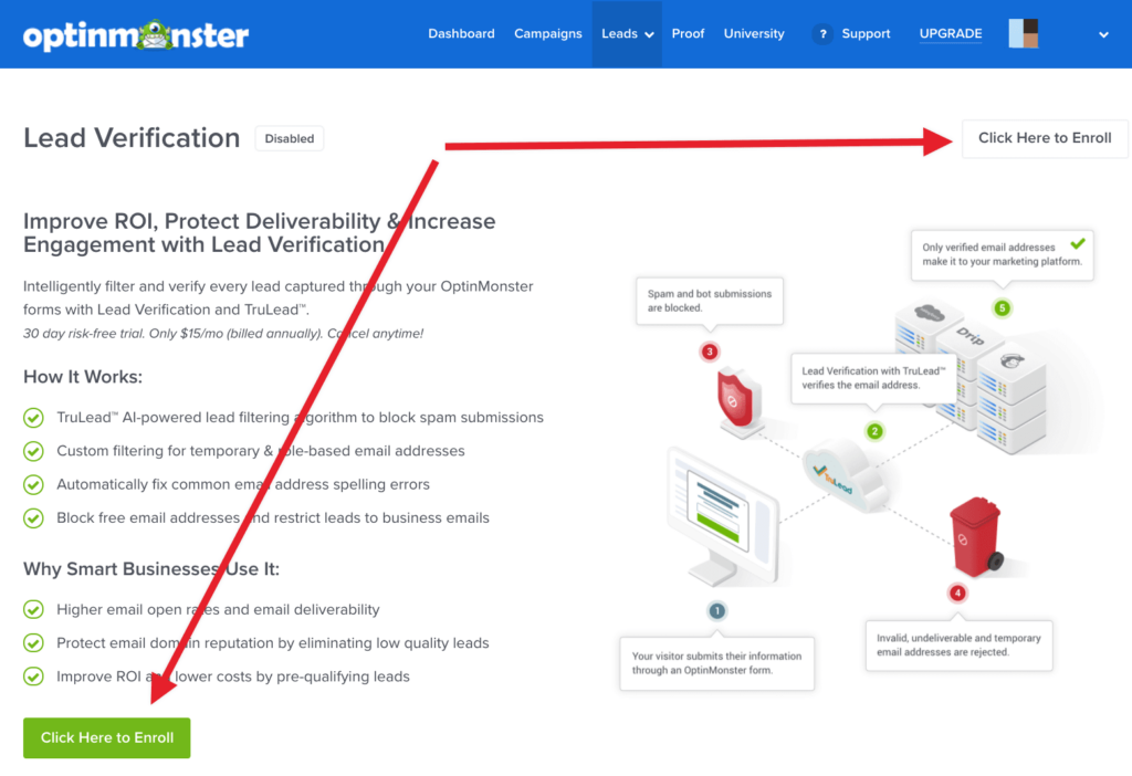 Enroll in Lead Verification in OptinMonster.