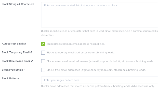 More filter options to verify email addresses
