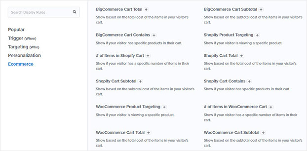 OptinMonster eCommerce display rules_