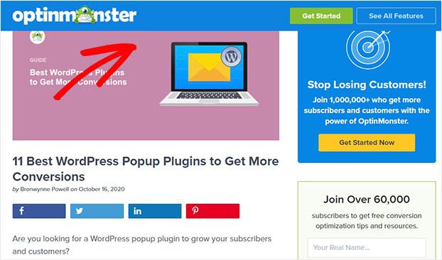 OptinMonster floating bar on blog