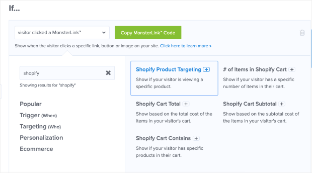 OptinMonster targeting rules for Shopify