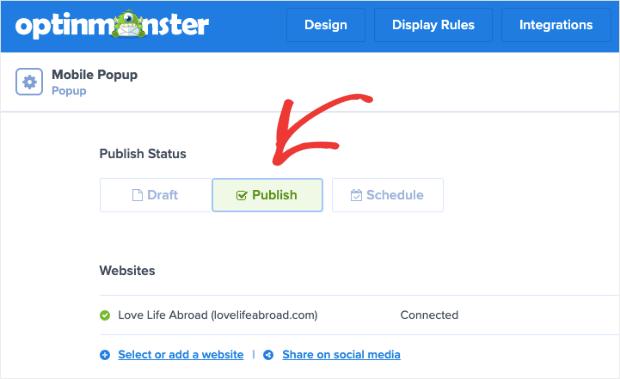 Publish your mobile popup