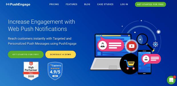 Push Engage homepage