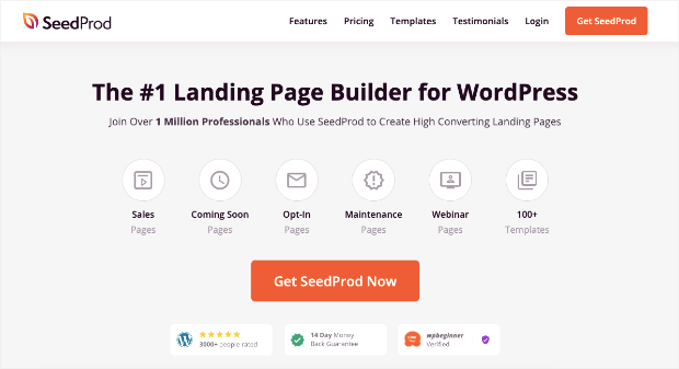 SeedProd landing page creation tool homepage-min