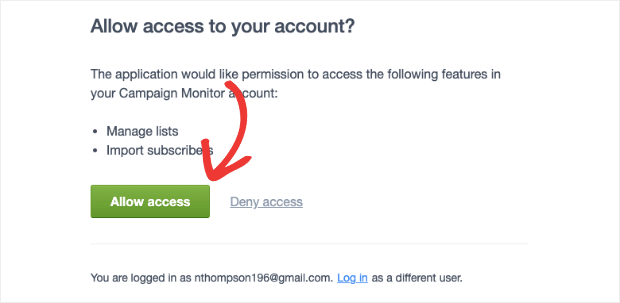 allow access to campaign monitor