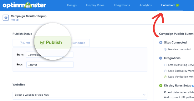 publish your campaign monitor popup