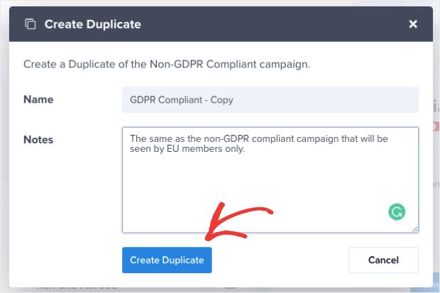 Create Duplicate