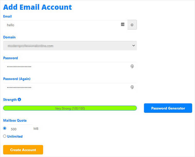 Create email account in cPanel